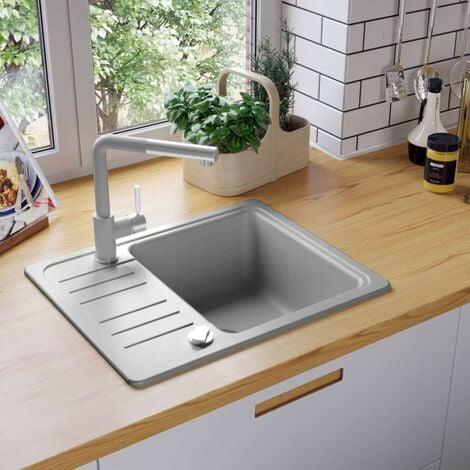 Hommoo Granite Kitchen Sink Single Basin Grey VD04967