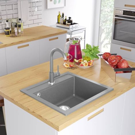 Hommoo Granite Kitchen Sink Single Basin Grey VD04969
