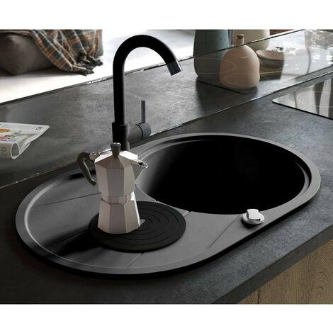 Hommoo Granite Kitchen Sink Single Basin Oval Black