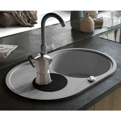 Hommoo Granite Kitchen Sink Single Basin Oval Grey