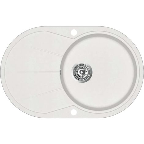 Hommoo Granite Kitchen Sink Single Basin Oval White