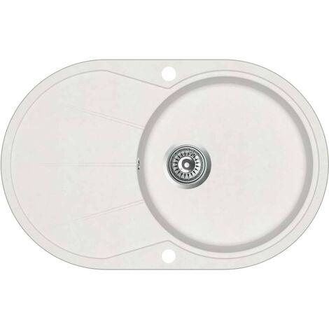 Hommoo Granite Kitchen Sink Single Basin Oval White VD06254