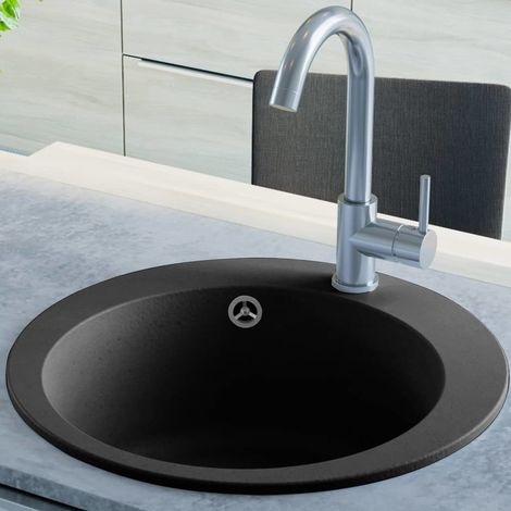 Hommoo Granite Kitchen Sink Single Basin Round Black