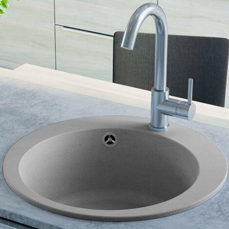 Hommoo Granite Kitchen Sink Single Basin Round Grey