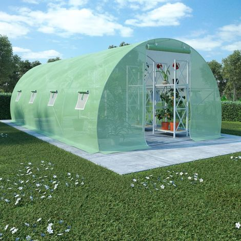 Hommoo Greenhouse with Steel Foundation 18m2 600x300x200 cm VD29666