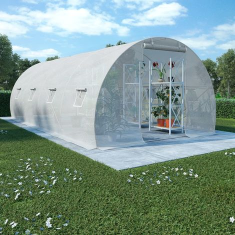 Hommoo Greenhouse with Steel Foundation 18m2 600x300x200 cm VD29868