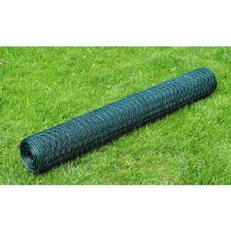 Hommoo Grillage Acier galvanisé et revêtement en PVC 25x0,5 m Vert HDV03557