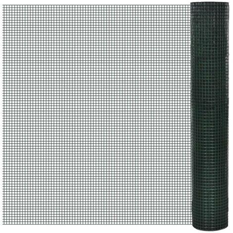 Hommoo Grillage Acier galvanisé et revêtement en PVC 25 x 1 m Vert HDV03590