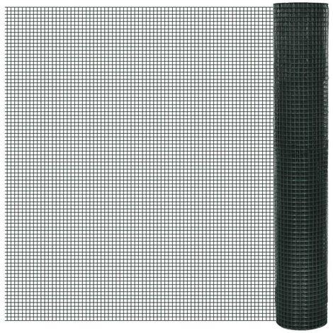 Hommoo Grillage Acier galvanisé et revêtement en PVC 25 x 1 m Vert HDV03591