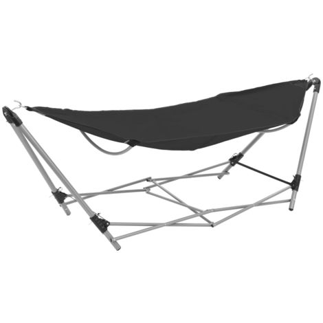 Hommoo Hammock with Foldable Stand Black