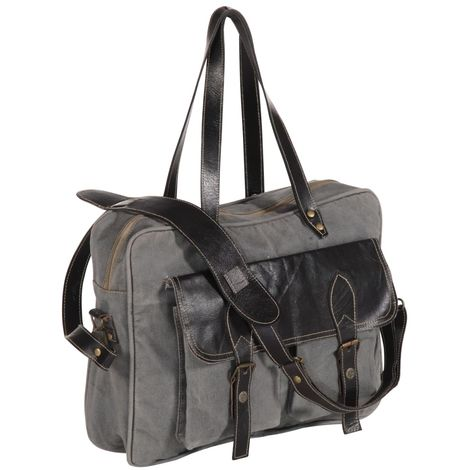 Hommoo Hand Bag Dark Grey 40x53 cm Canvas and Real Leather