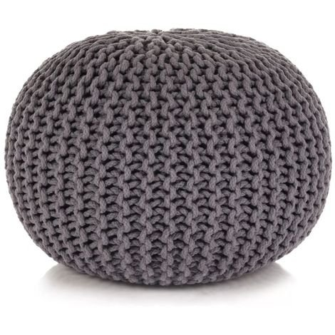Hommoo Hand-Knitted Pouffe Cotton 50x35 cm Grey VD11073