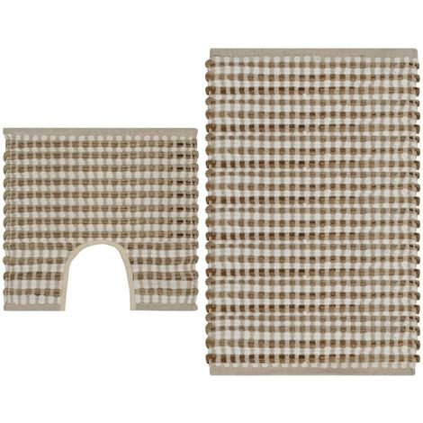 Hommoo Hand-Woven Jute Bathroom Mat Set Fabric Natural and White