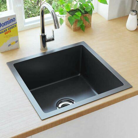 Hommoo Handmade Kitchen Sink with Strainer Black Stainless Steel