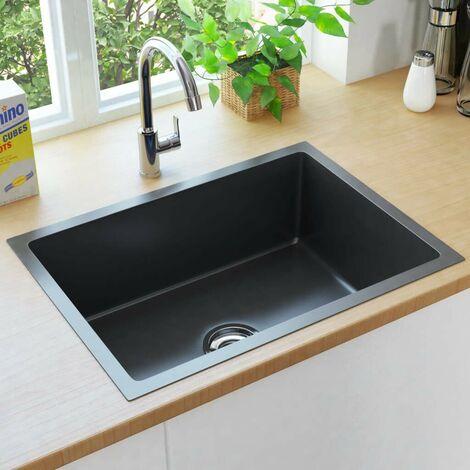 Hommoo Handmade Kitchen Sink with Strainer Black Stainless Steel VD34974