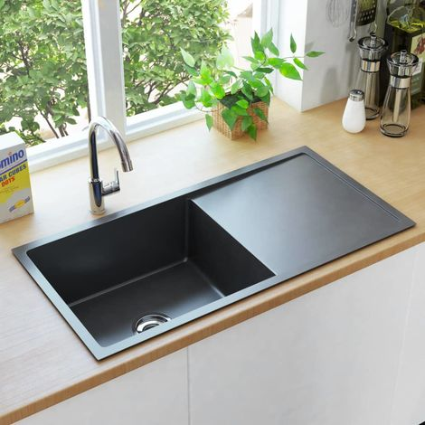 Hommoo Handmade Kitchen Sink with Strainer Black Stainless Steel VD34976