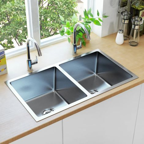 Hommoo Handmade Kitchen Sink with Strainer Stainless Steel
