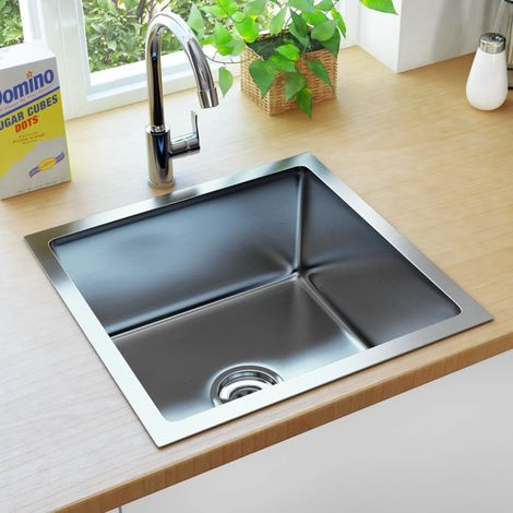 Hommoo Handmade Kitchen Sink with Strainer Stainless Steel