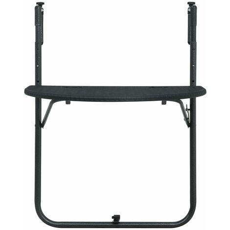 Hommoo Hanging Balcony Table Black 60x64x83.5 cm Plastic Rattan Look QAH30271