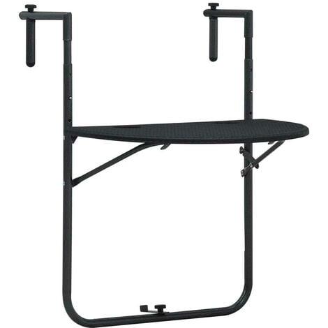 Hommoo Hanging Balcony Table Black 60x64x83.5 cm Plastic Rattan Look VD30271