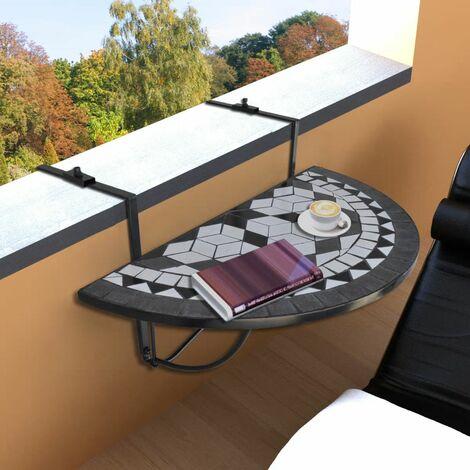 Hommoo Hanging Balcony Table Black and White Mosaic QAH26362