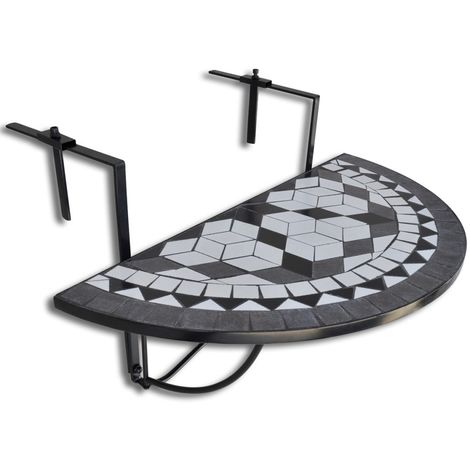 Hommoo Hanging Balcony Table Black and White Mosaic VD26362