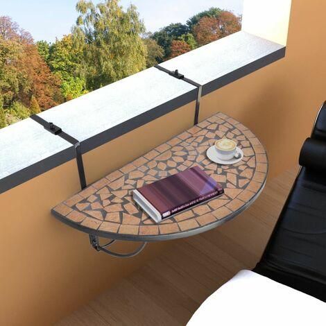 Hommoo Hanging Balcony Table Terracotta Mosaic QAH26360
