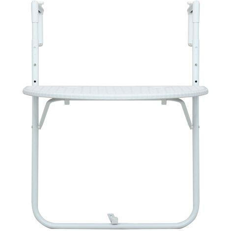 Hommoo Hanging Balcony Table White 60x64x83.5 cm Plastic Rattan Look QAH30270