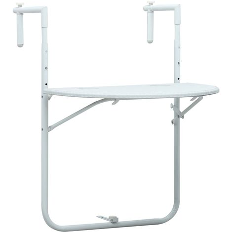 Hommoo Hanging Balcony Table White 60x64x83.5 cm Plastic Rattan Look VD30270