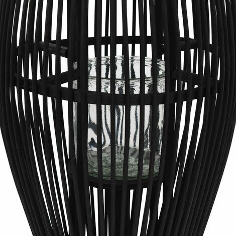 Hommoo Hanging Candle Lantern Holder Bamboo Black 60 cm QAH12736