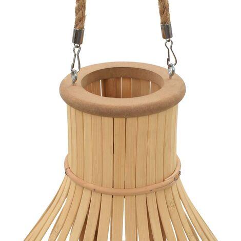 Hommoo Hanging Candle Lantern Holder Bamboo Natural QAH12737