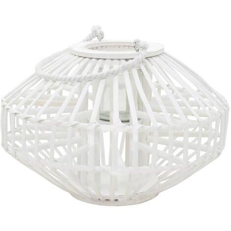Hommoo Hanging Candle Lantern Holder Wicker White QAH12743
