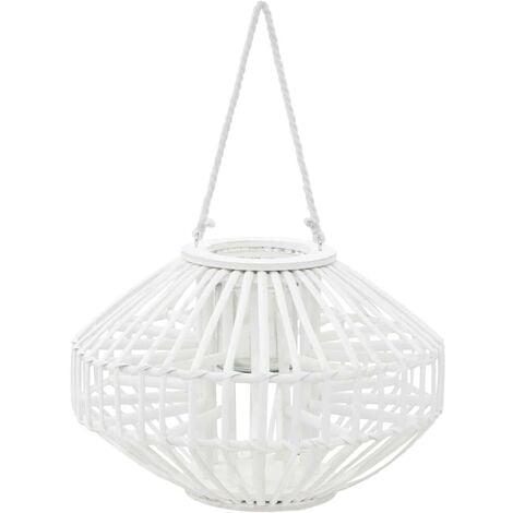 Hommoo Hanging Candle Lantern Holder Wicker White VD12743