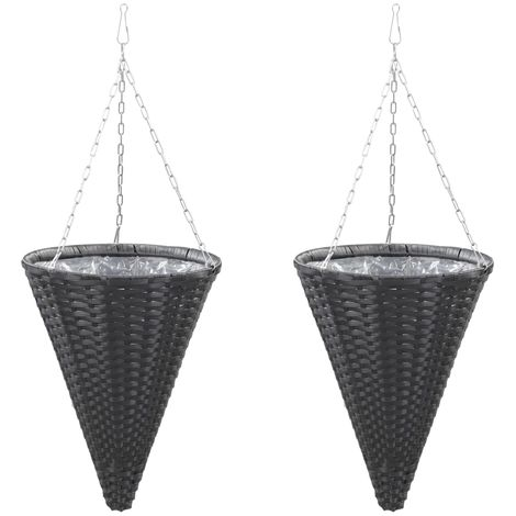 Hommoo Hanging Flower Baskets 2 pcs Poly Rattan Black