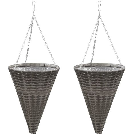 Hommoo Hanging Flower Baskets 2 pcs Poly Rattan Grey