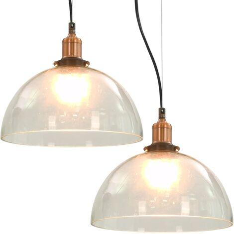 Hommoo Hanging Lamps 2 pcs Transparent Round 30 cm E27 QAH30692
