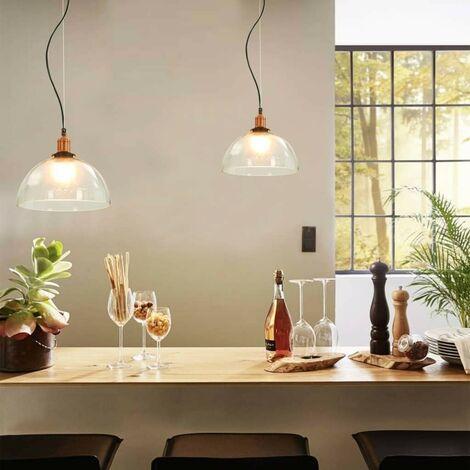 Hommoo Hanging Lamps 2 pcs Transparent Round 30 cm E27 VD30692