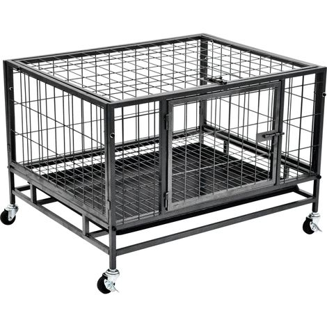 Hommoo Heavy Duty Dog Cage with Wheels Steel 82x66x56 cm