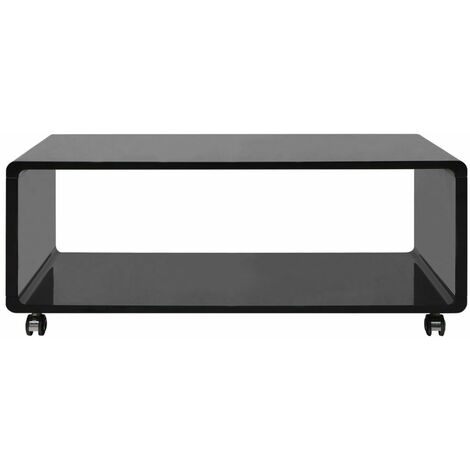Hommoo High Gloss Coffee Table Black QAH09563