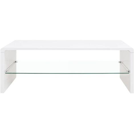 Hommoo High Gloss Coffee Table White QAH09568