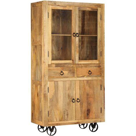 Hommoo Highboard Solid Mango Wood 95x45x185 cm QAH12261
