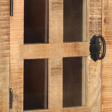 Hommoo Highboard with Wheel 38x30x143 cm Solid Rough Mango Wood QAH36504