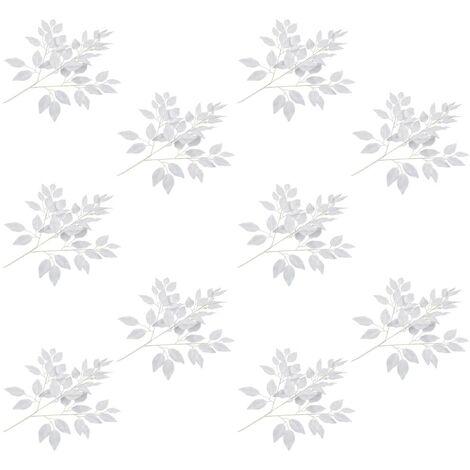 Hommoo Hojas artificiales de ficus 10 unidades blanco 65 cm