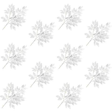 Hommoo Hojas artificiales de ficus 10 unidades plateado 65 cm