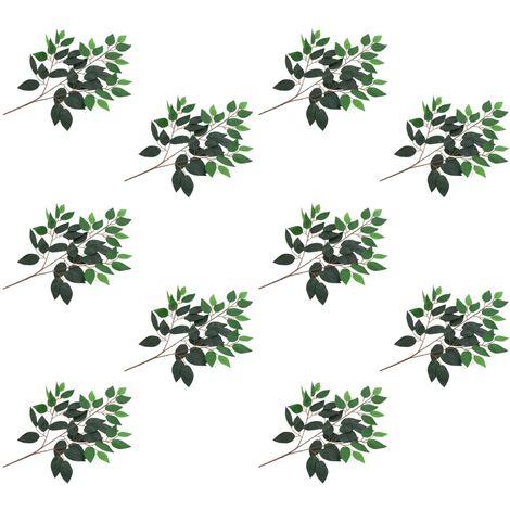 Hommoo Hojas artificiales de ficus 10 unidades verde 65 cm