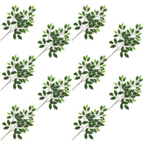 Hommoo Hojas artificiales de ficus 10 unidades verde y blanco 65 cm