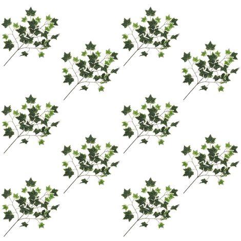 Hommoo Hojas artificiales de hiedra 10 unidades verde y blanco 70 cm