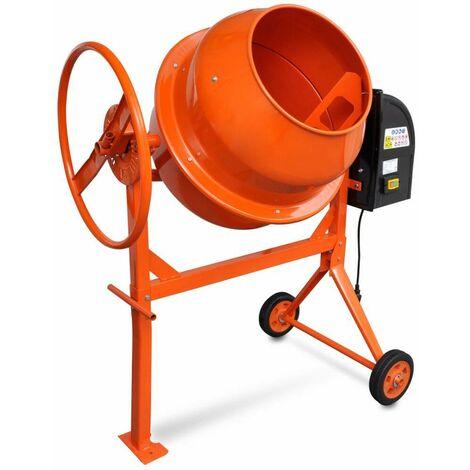 Hommoo Hormigonera eléctrica de acero naranja 140 L 650 W
