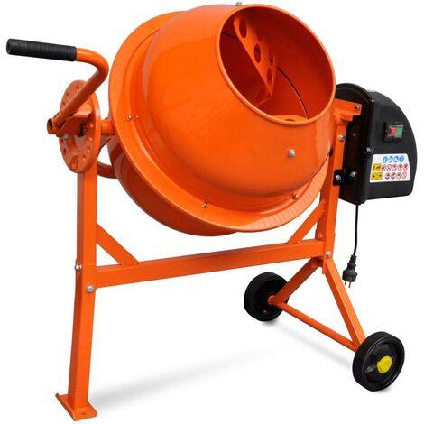 Hommoo Hormigonera eléctrica de acero naranja 63 L 220 W