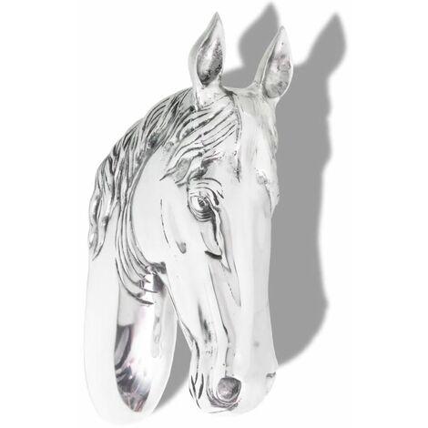 Hommoo Horse Head Decoration Wall-Mounted Aluminium Silver QAH09836